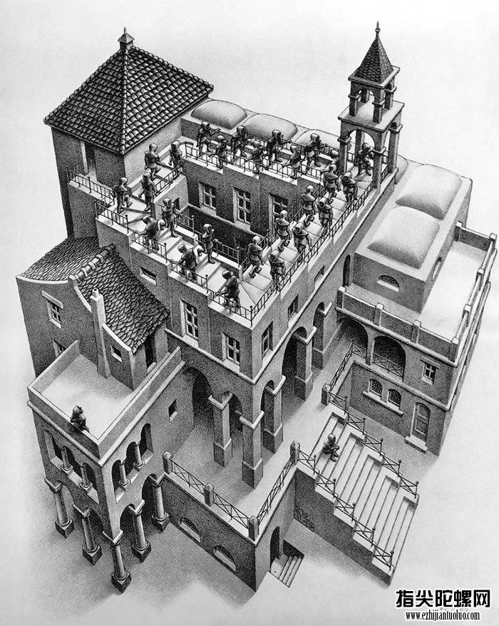 荷兰画家的《升与降》初次将「潘洛斯阶梯」出现在世人眼前。